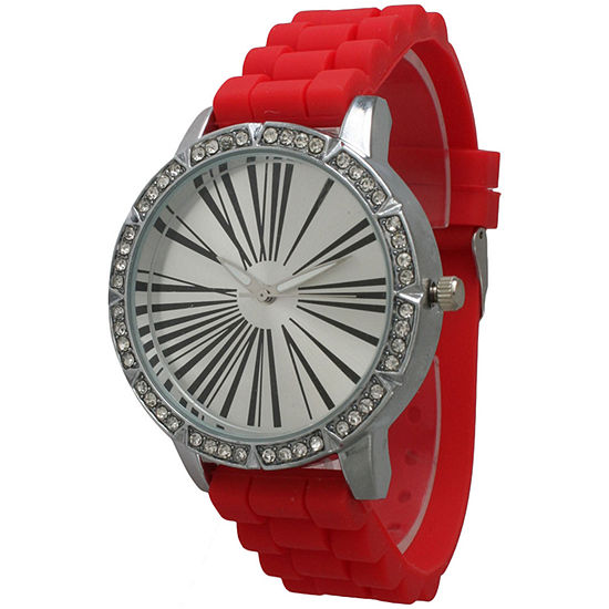 Olivia Pratt Womens Rhinestone Bezel Roman Numeral Dial Red Silicon Watch 20369Red