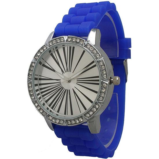 Olivia Pratt Womens Rhinestone Bezel Roman Numeral Dial Royal Silicon Watch 20369Royal