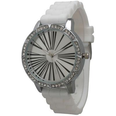 Olivia Pratt Womens Rhinestone Bezel Roman Numeral Dial White Silicon Watch 20369White