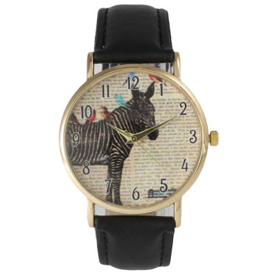 Olivia Pratt Womens Zebra And Birds Black Leather Watch 20399Black