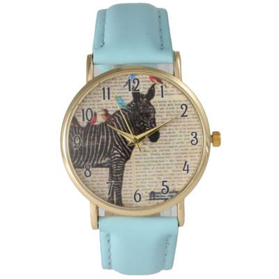 Olivia Pratt Womens Zebra And Birds Light Blue Leather Watch 20399Light Blue