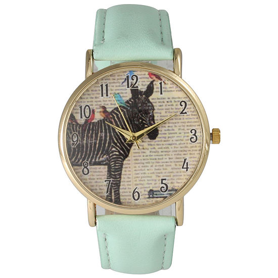 Olivia Pratt Womens Zebra And Birds Mint Leather Watch 20399Mint