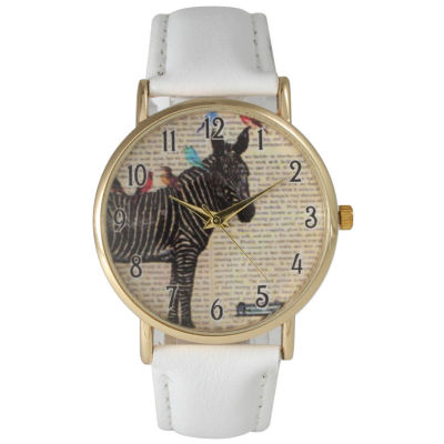 Olivia Pratt Womens Zebra And Birds White Leather Watch 20399White