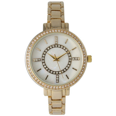 Olivia Pratt Womens Rhinestone Bezel Faux Mother Of Pearl Rhinestone Dial Gold-Tone Bracelet Watch 14403Gold