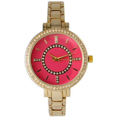 Olivia Pratt Womens Rhinestone Bezel Faux Mother Of Pearl Rhinestone Dial Hot Pink Bracelet Watch 14403Hot Pink
