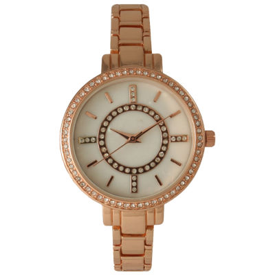 Olivia Pratt Womens Rhinestone Bezel Faux Mother Of Pearl Rhinestone Dial Rose-Tone Bracelet Watch 14403Rose