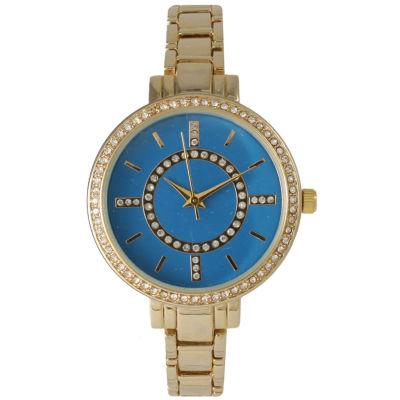 Olivia Pratt Womens Rhinestone Bezel Faux Mother Of Pearl Rhinestone Dial Royal Bracelet Watch 14403Royal