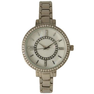 Olivia Pratt Womens Rhinestone Bezel Faux Mother Of Pearl Rhinestone Dial Silver-Tone Bracelet Watch 14403Silver