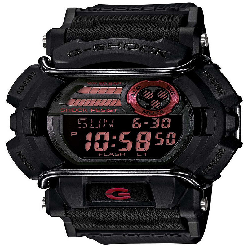 Casio G- Shock Mens Black and Red Strap Watch GD400-1