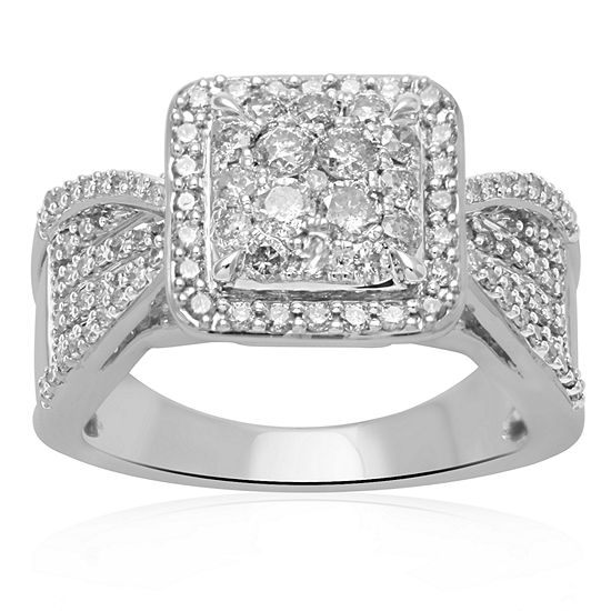 1 CT. T.W. Genuine Diamond 10K White Gold Engagement Ring