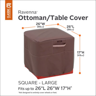 Classic Accessories® Ravenna Large Square Ottoman Side Table Cover