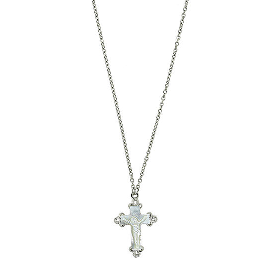 1928 Religious Jewelry Religious Jewelry White 16 Inch Link Cross Pendant Necklace