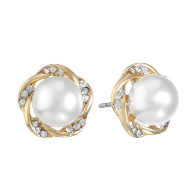 Monet Jewelry White Simulated Pearl 19.5mm Stud Earrings