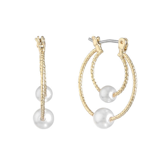 Monet Jewelry 1 Pair White Simulated Pearl Hoop Earrings