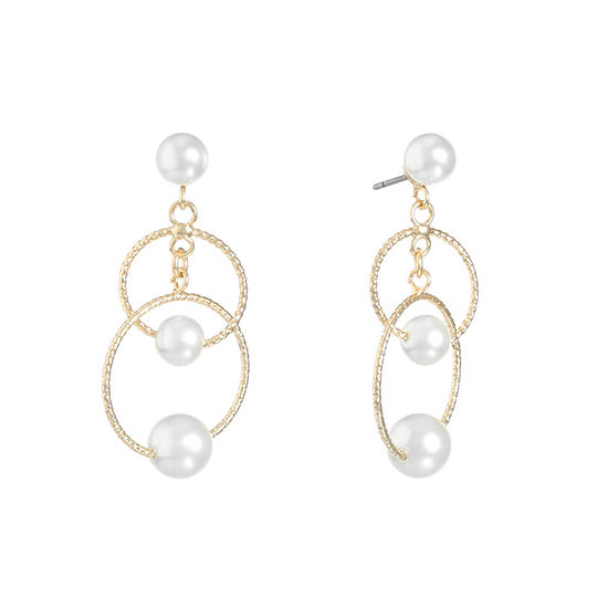 Monet Jewelry 1 Pair White Simulated Pearl Drop Earrings