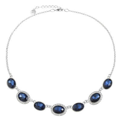 Monet Jewelry Womens Blue Pear Collar Necklace