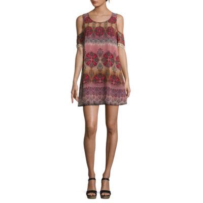 Speechless Short Sleeve Pattern A-Line Dress-Juniors