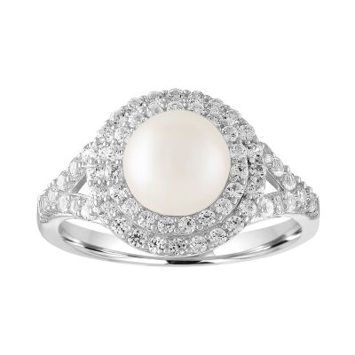 Womens Cultured Pearl & Lab-Created White Sapphire Sterling Silver Cocktail Ring