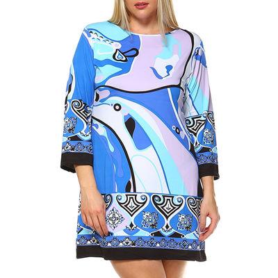 White Mark Abstract Wave Waves Sheath Dress-Plus