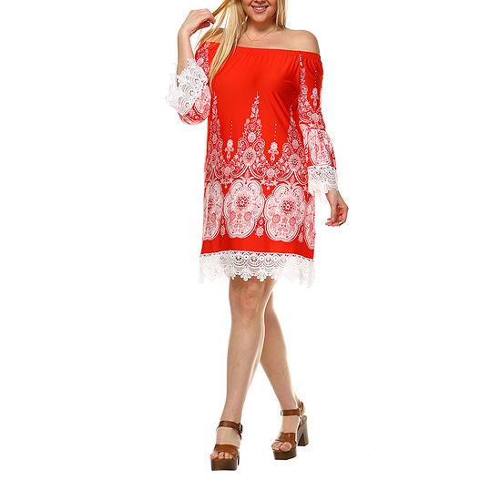 White Mark Mya Bordered Sheath Dress - Plus