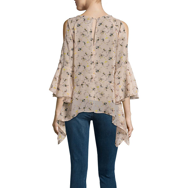 Buffalo Jeans 3/4 Sleeve Floral Ruffle Cold Shoulder Top