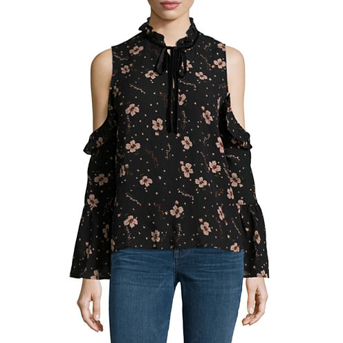 i jeans by Buffalo Long Sleeve Floral Ruffle Cold Shoulder Top