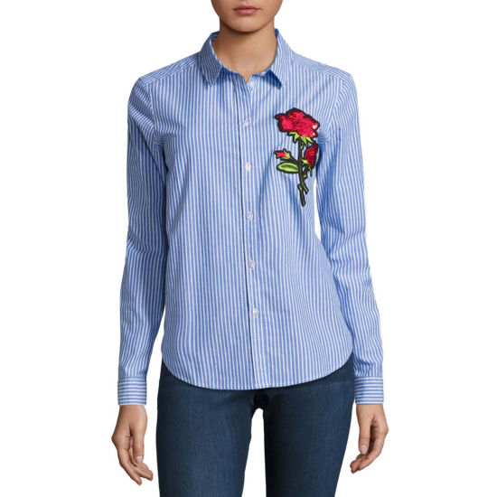 i jeans by Buffalo Pinstripe Patch Shirt
