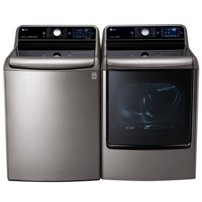 LG Electric Washer and Dryer Package- Graphite Steel