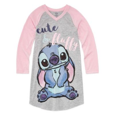 Disney Long Sleeve Lilo & Stitch Nightshirt-Big Kid Girls