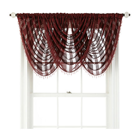 JCPenney Home Cherise Rod-Pocket Waterfall Valance, One Size , Red