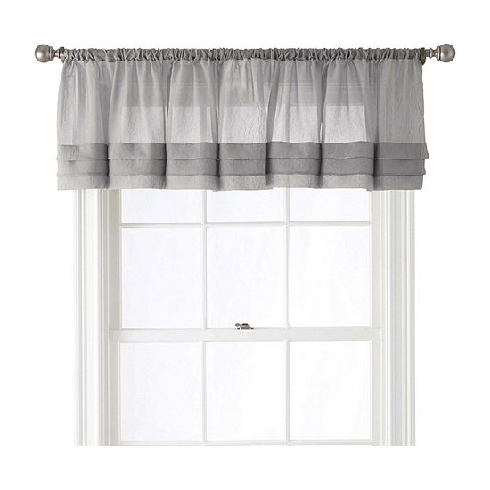 Home Expressions Crushed Voile Rod-Pocket Tailored Valance
