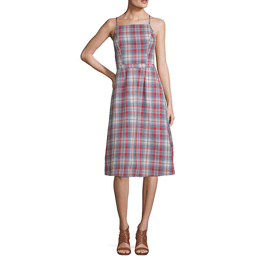 Arizona Sleeveless Plaid Shift Dress-Juniors Plus