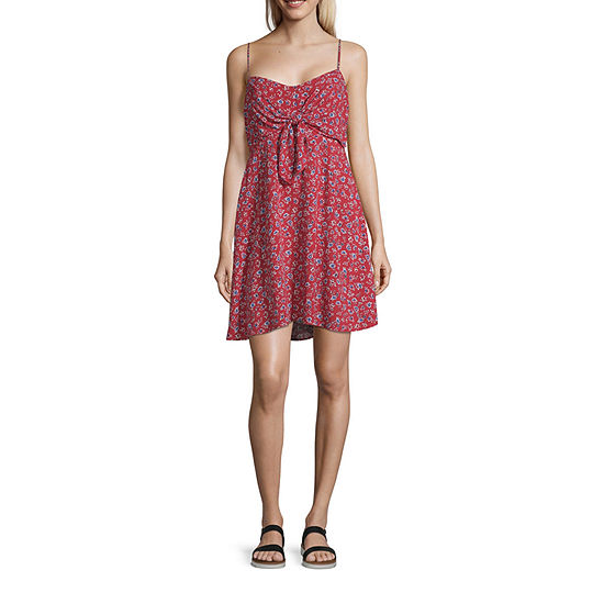 Arizona Sleeveless Floral Fit & Flare Dress-Juniors Plus