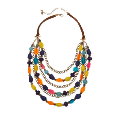 EL by Erica Lyons Gold Havana Nights Womens Multi Color Round Beaded Necklace