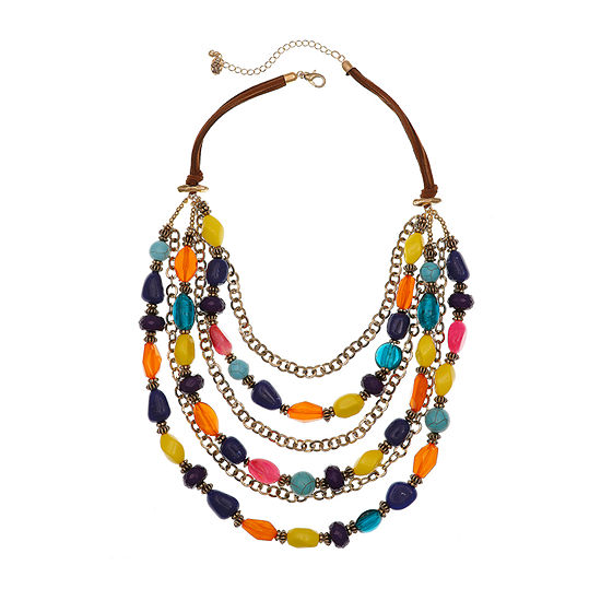 EL by Erica Lyons Gold Havana Nights Multi Color 20 Inch Cable Round Beaded Necklace