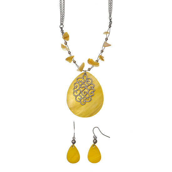 Mixit Boxed Silver Tone Pear 2 Pc Jewelry Set
