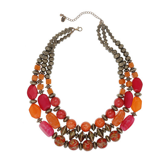 EL by Erica Lyons Orange Fuchsia Womens Oval Beaded Necklace