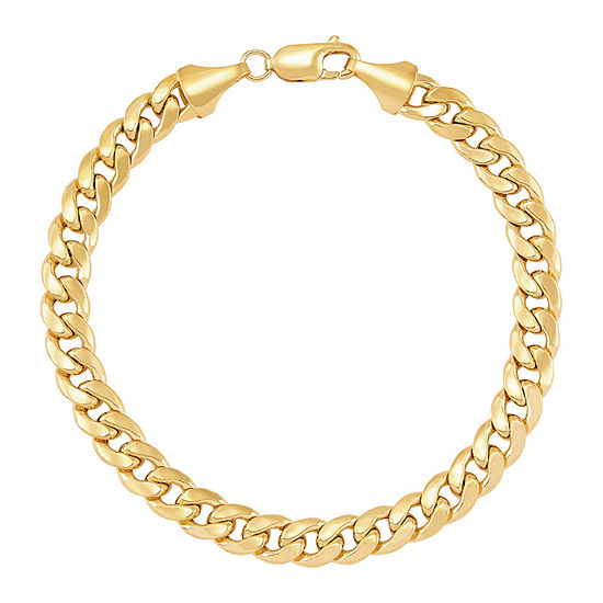 Made in Italy 10K Gold 8 1/2 Inch Hollow Link Chain Bracelet