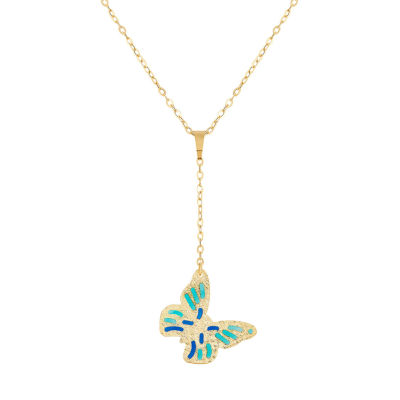 Made in Italy Womens 14K Gold Butterfly Pendant Necklace
