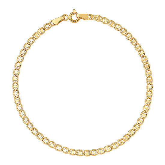 Made in Italy 14K Gold 7.5 Inch Hollow Wheat Link Bracelet