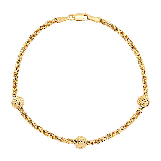 10K Gold 7.5 Inch Hollow Rope Chain Bracelet