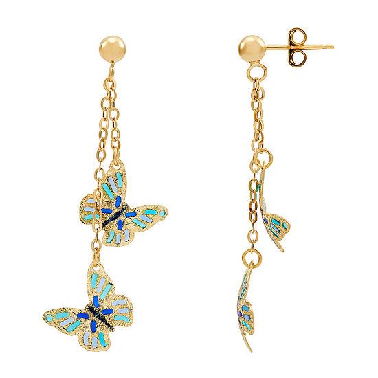 Made in Italy 14K Gold Butterfly Drop Earrings