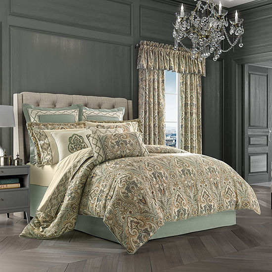 Queen Street Veronica 4-pc. Damask + Scroll Heavyweight Comforter Set