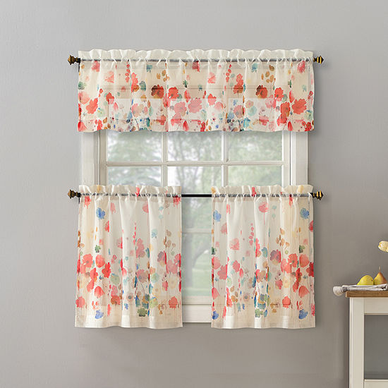 No 918 Rosalee 3-pc. Rod-Pocket Kitchen Curtain Set