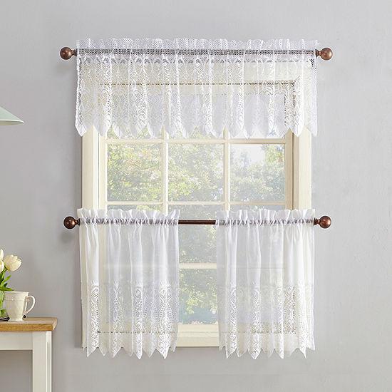 No 918 Faith 3-pc. Rod-Pocket Kitchen Curtain Set
