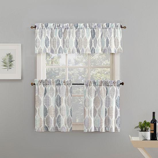 No 918 Mikko 3 Pc Rod Pocket Kitchen Curtain Set