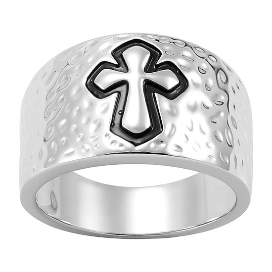 Forever Inspired Womens Sterling Silver Cross Cocktail Ring