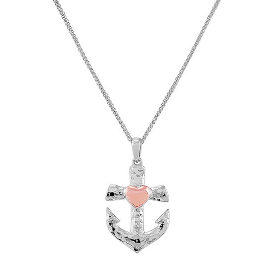 Forever Inspired Womens Sterling Silver Heart Pendant Necklace