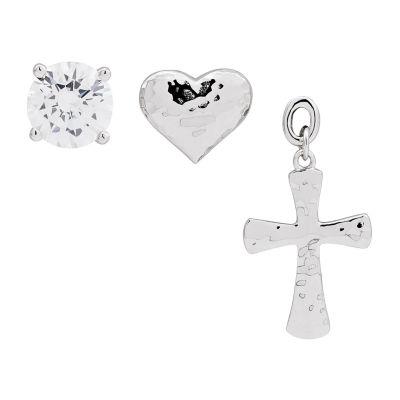 Forever Inspired 3 Pair White Cubic Zirconia Cross Earring Set