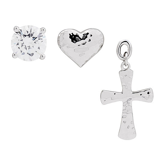 Forever Inspired White Cubic Zirconia Sterling Silver Cross 3 Pair Earring Set